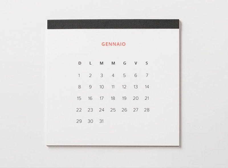 Calendario Aree di cura